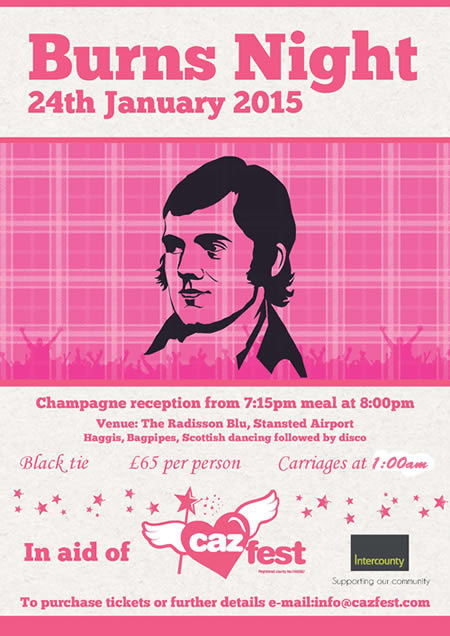 Fundraising Burns Night. Your Invitation to the Cazfest Black Tie Dinner!